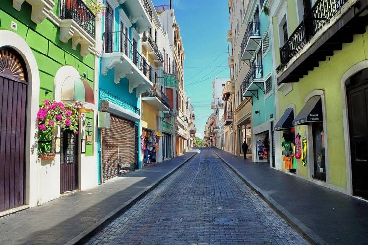 La Fortaleza Street, one of the beautiful streets in the national historic district of Old San Juan, Puerto Rico