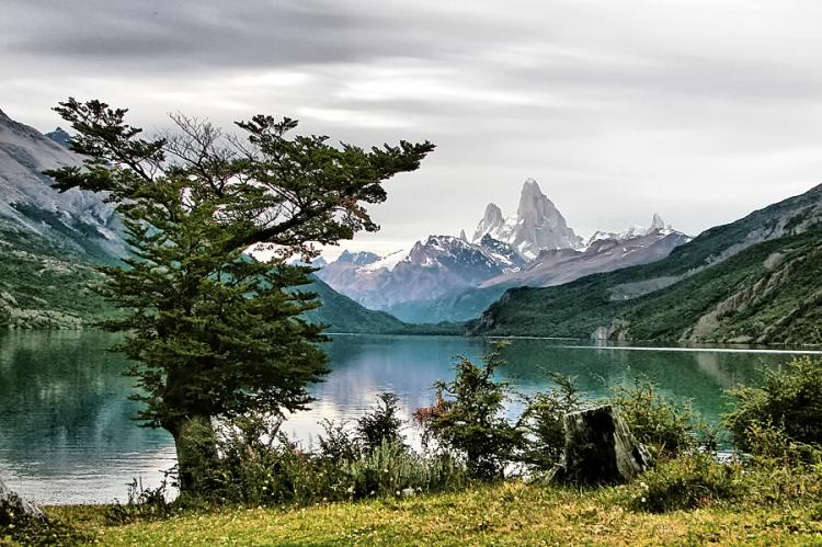View of Lago del Desierto, Argentina. In the background to the right is Mount Fitz Roy (or Cerro Chaltén).