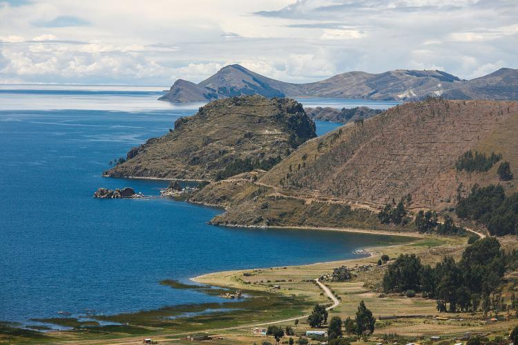 Lake Titicaca, on the border of Peru and Bolivia