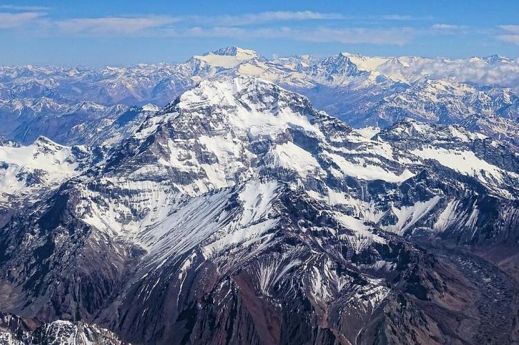 Aerial view of Mount Aconcagua, Argentina