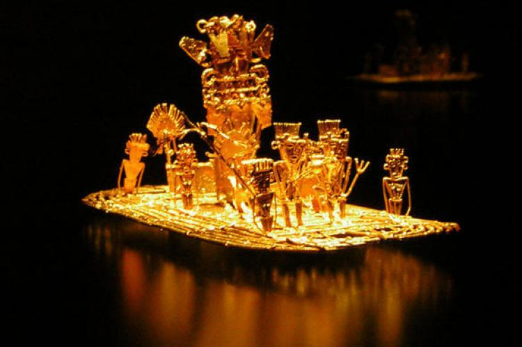 Muisca raft, possible source of the legend of El Dorado, found in a cave in Pasca, Colombia in 1856, together with many other gold objects and dated between 1200 and 1500 BC