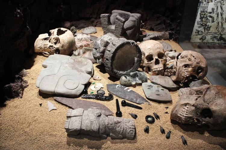 Artifacts in the Templo Mayor museum, Mexico City