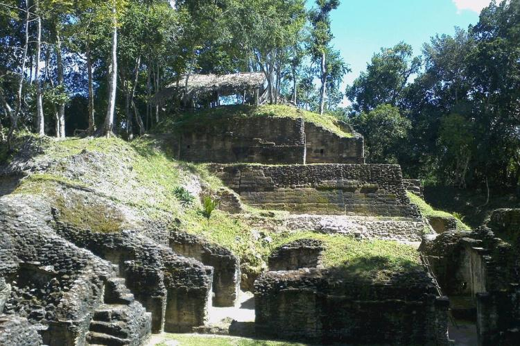 Restored structures at Naranjo archaeological site, Guatemala