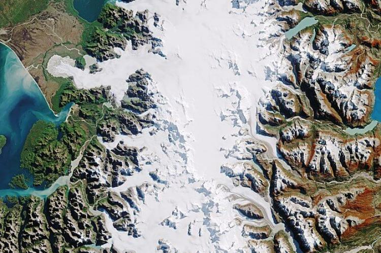 NASA satellite photo of North Patagonia Ice Field