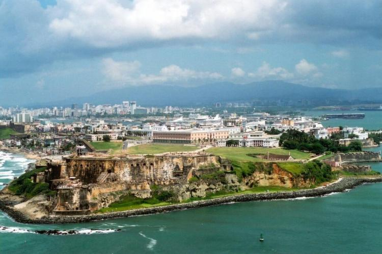 Aeriel view of Old San Juan with the Luquillo Mountain Range (Sierra de Luquillo) in the background