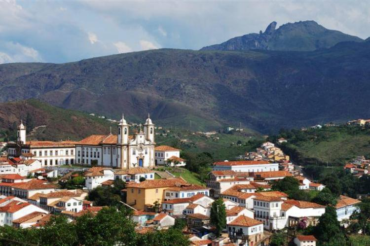 Ouro Preto (Brazil) panoramic view and Itacolomi Peek in the background