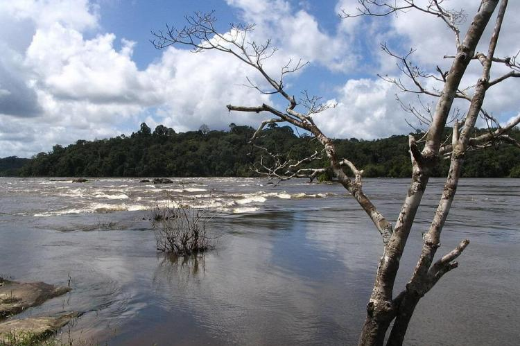 Maripa Falls on the Oyapock River, looking towards Brazilian side of the border with French Guiana