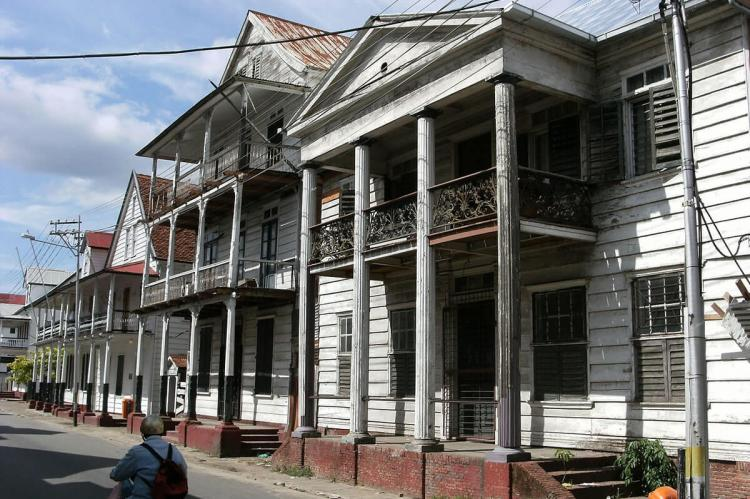 Colonial style houses in Paramaribo, Suriname