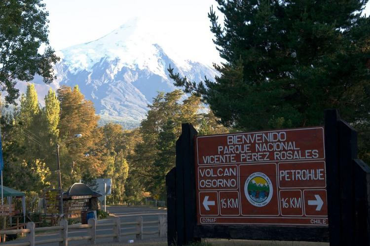 Welcome sign at Vicente Pérez Rosales National Park (Chile)