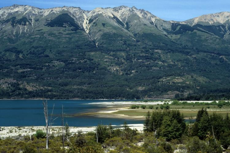 View of Puelo lake and the mouth of Turbio river in Lago Puelo National Park, Argentina