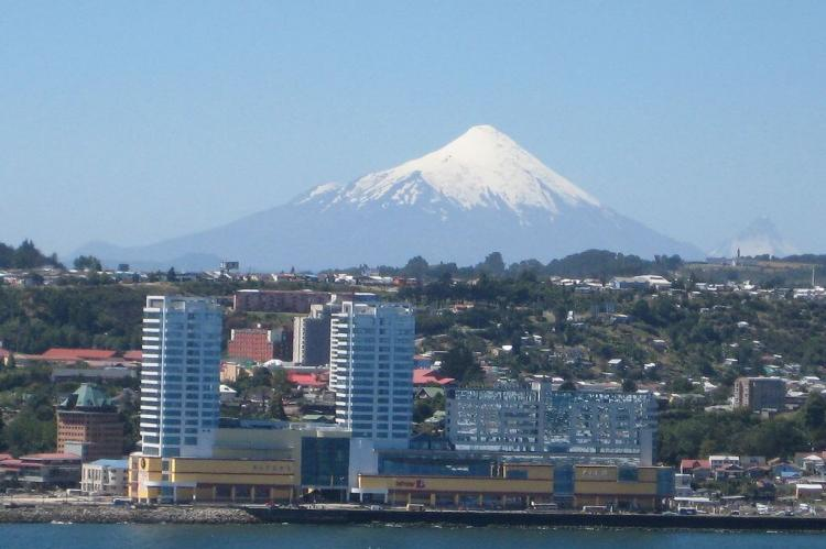 Puerto Montt, Chile on Llanquihue Lake with Volcan Osorno in background