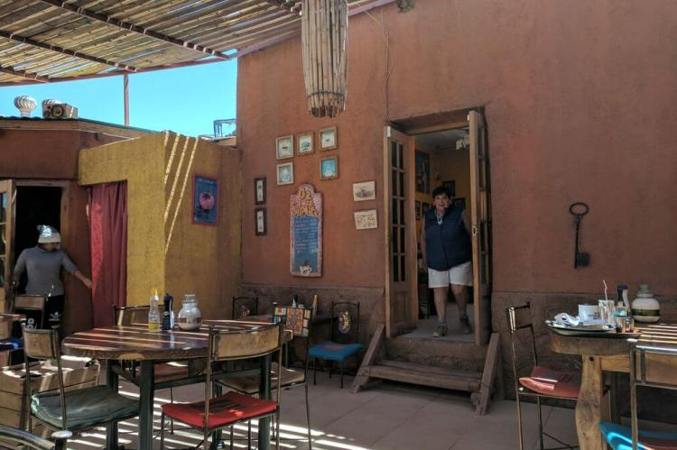 Restaurant courtyard in San Pedro de Atacama, Chile