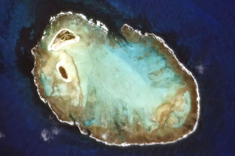 Rocas Atoll, Brazil, photographed from the International Space Station by the crew of Expedition 22