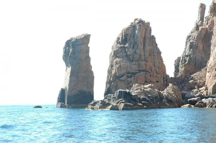 Pillars of stone, rocky islets, Sea of Cortez, Mexico
