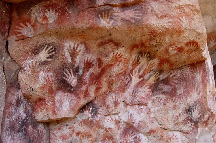 Hands at the Cuevas de las Manos upon Río Pinturas, near the town of Perito Moreno in Santa Cruz Province, Argentina