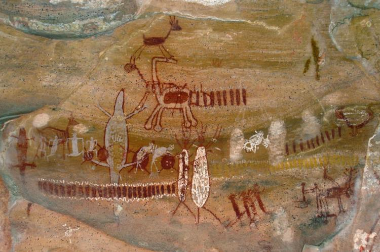Example of rock painting in Serra da Capivara National Park, Brazil