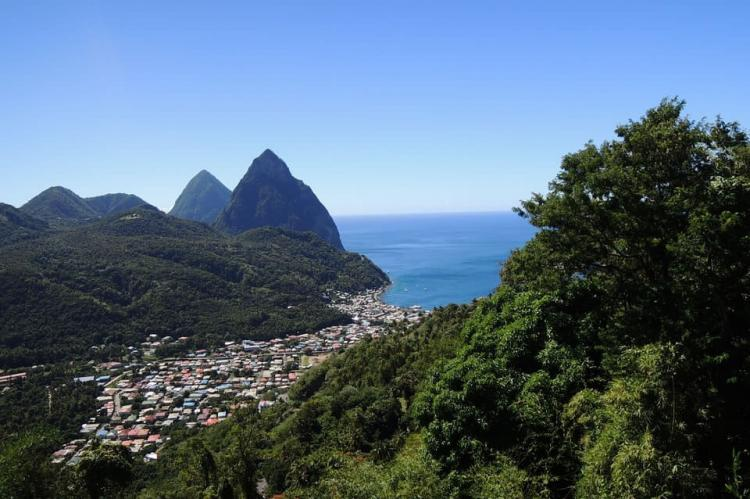 St Lucia Pitons view