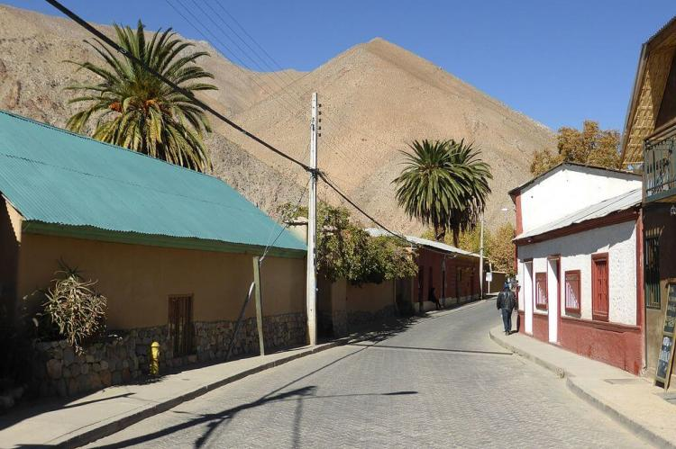 Street in the town of Pisco Elqui, Chile