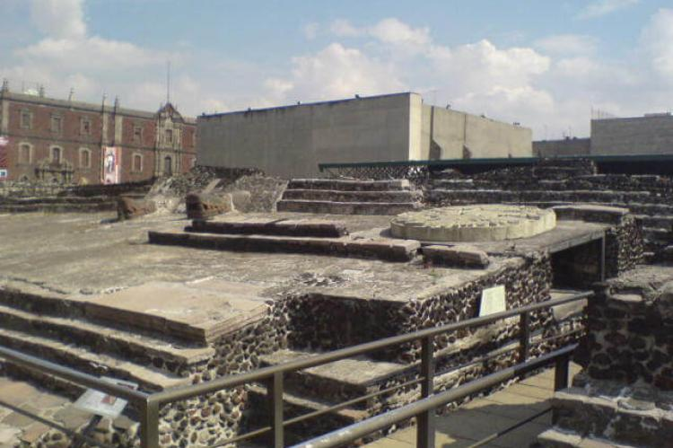 View of the ruins of the Templo Mayor with museum in background