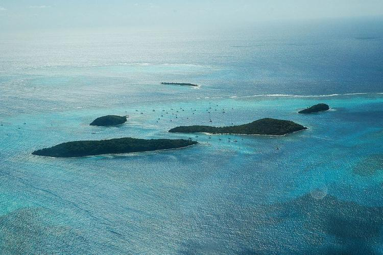 Aerial view of Tobago Cays, a Saint Vincent and the Grenadines National Marine Park