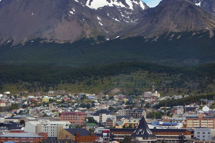 City of Ushuaia at the foot of the Martial Mountains, Tierra del Fuego, Argentina
