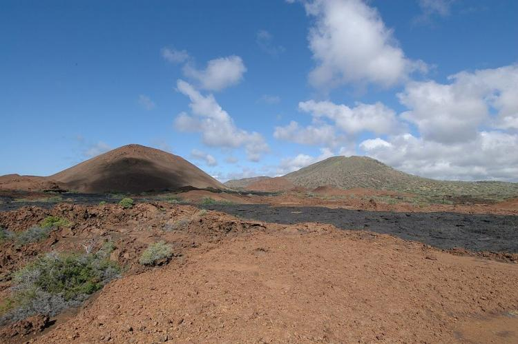 Volcanic cones and lava on Santiago island in the Galapagos Islands, Ecuador