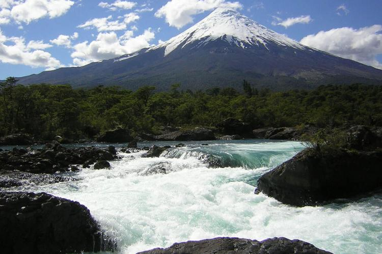 Volcano Osorno and Petrohué waterfalls, Chile
