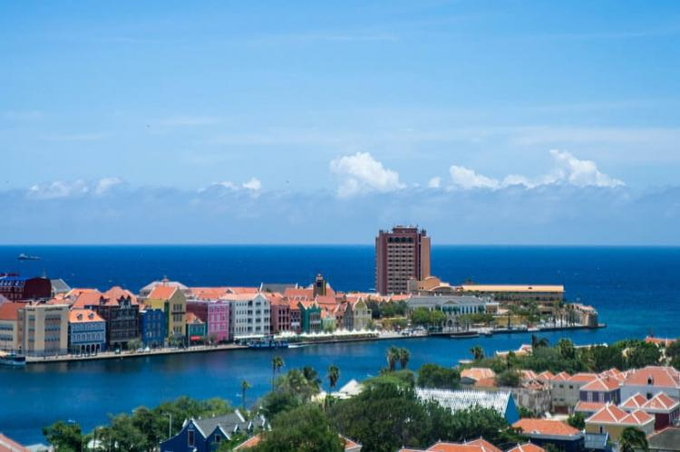 Aerial view of Willemstad Harbor, Curaçao