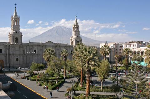Arequipa, Plaza de Armas and Volcan El Misti (Peru)