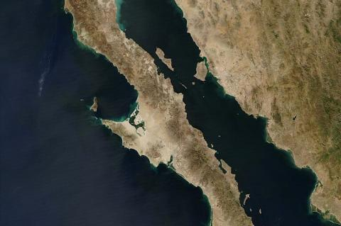 NASA image of the Baja Peninsula in western Mexico
