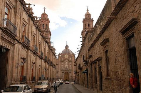 Street in the historic center of Morelia, Mexico