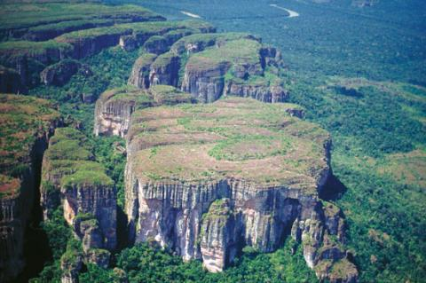 Aerial view of a tepui within Chiribiquete National Park, Colombia