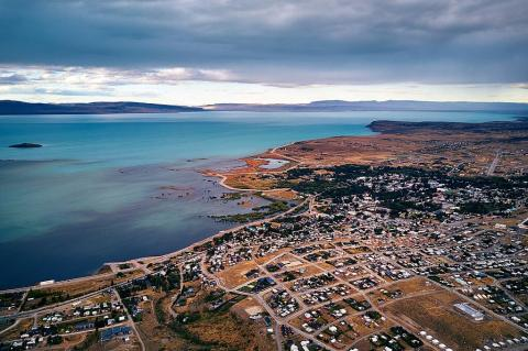 Aerial view of El Calafate, Argentina in 2018