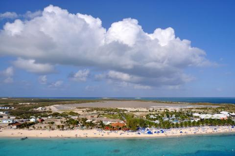 Aerial view of Grand Turk, Turks and Caicos