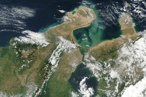 Satellite image of Guajira Peninsula and Gulf of Venezuela, taken by NASA