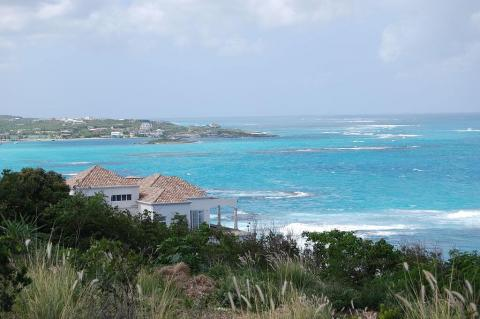 View of Island Harbour and Scilly Cay from Harbour Ridge Drive, Anguilla