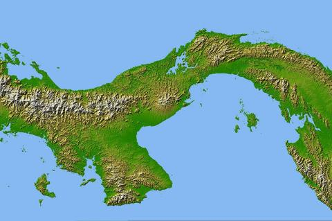 Digitized image of the Panama Isthmus created by NASA's Shuttle Radar Topography Mission (SRTM)