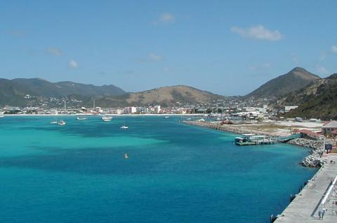 Panorama of Phililpsburg, the capital of Sint Maarten