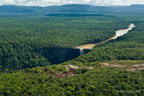 Potaro River reaches Kaieteur Falls, Guyana