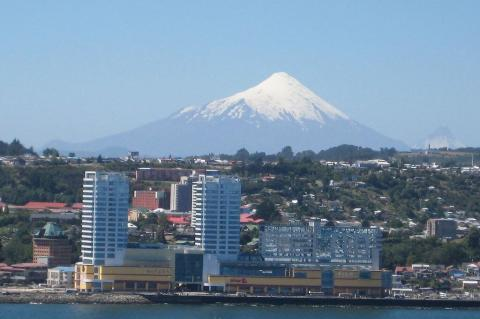 Puerto Montt, Chile with Volcan Osorno in background