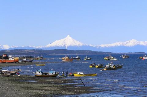 Quellon's Coastline with Volcano Corcovado in the distance