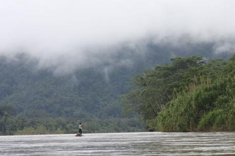 Indigenous Miskito moving over the waters of the Rio Patuca