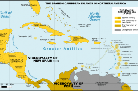 Political map of the Caribbean around 1600