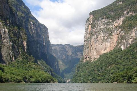 Grijalva River in Sumidero Canyon, Chiapas, Mexico