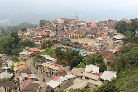 View of town of Zaruma, Ecuador