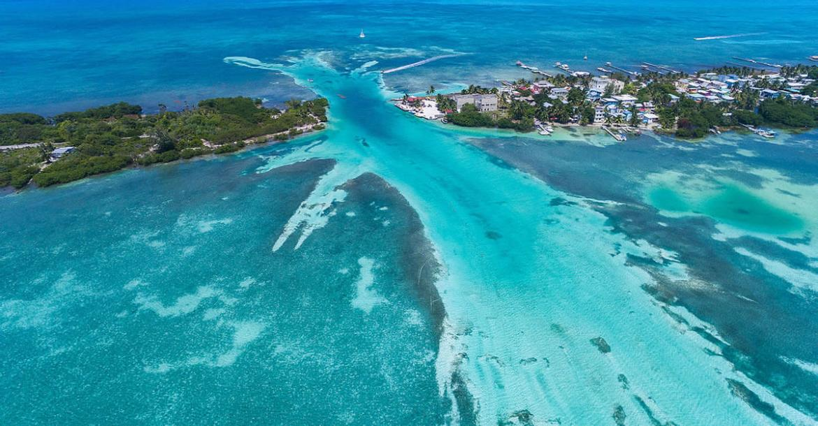 Aerial of Caye Caulker, Belize