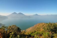 Panorama of Lake Atitlan, Guatemala with volcanoes in background
