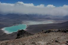 Laguna Verde and Blanca from the summit of Licancabur volcano, Bolivia
