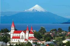 View of Puerto Varas, Los Lagos Region, with Osorno Volcano and Llanquihue Lake in the background