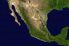 Geographical view of Mexico's  mountain ranges Sierra Madre Oriental, Sierra Madre Occidental and Sierra Madre del Sur